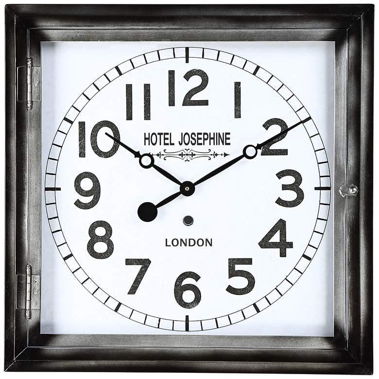 "Hotel Josephine 23 3/4"" Wide Square Metal Wall Clock"