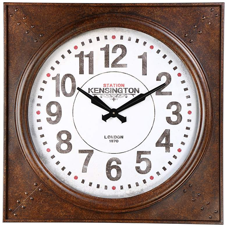 "Station 26 1/4"" Wide Square Metal Wall Clock"