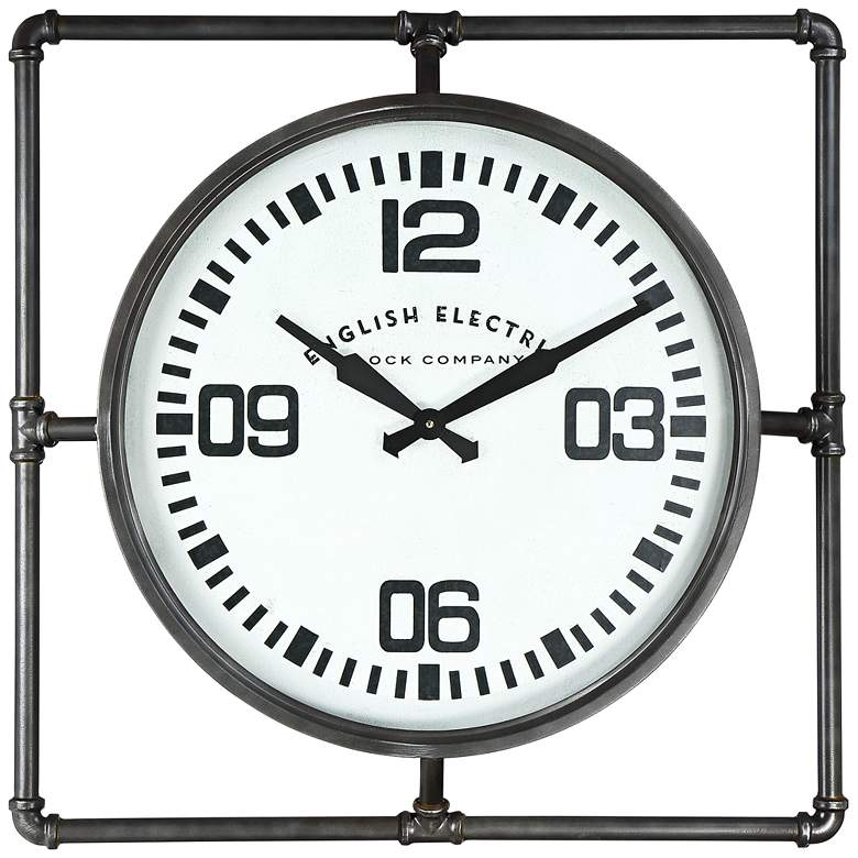 "English Electric 24 3/4"" Wide Square Metal Wall Clock"