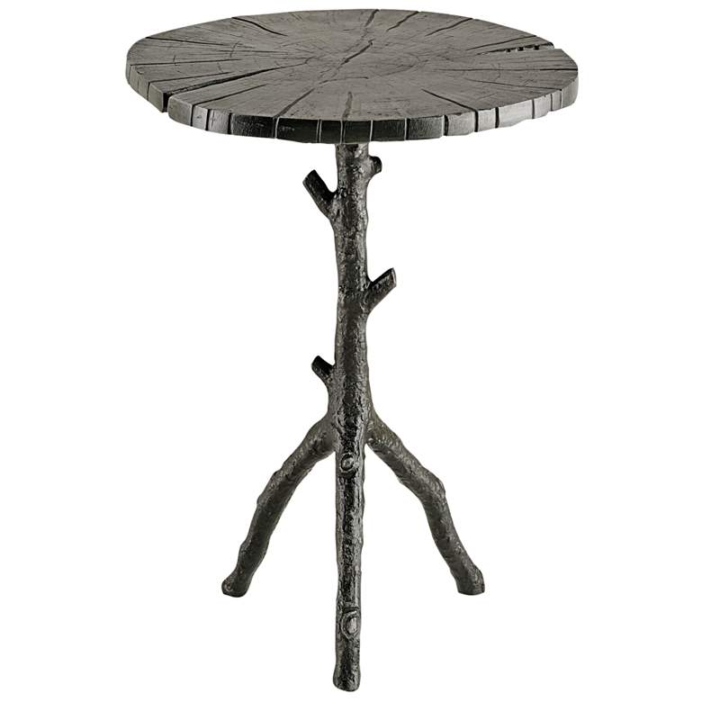 """Swinley 18"""" Wide Antique Black Wood Accent Table"""