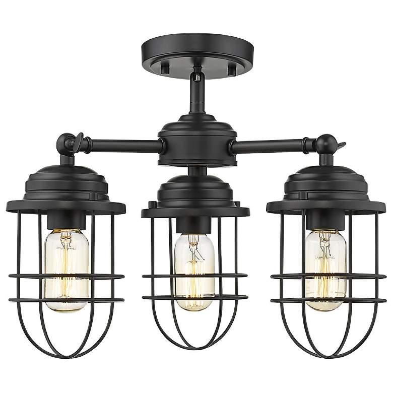 "Seaport 16 1/4"" Wide Black 3-Light Ceiling Light"