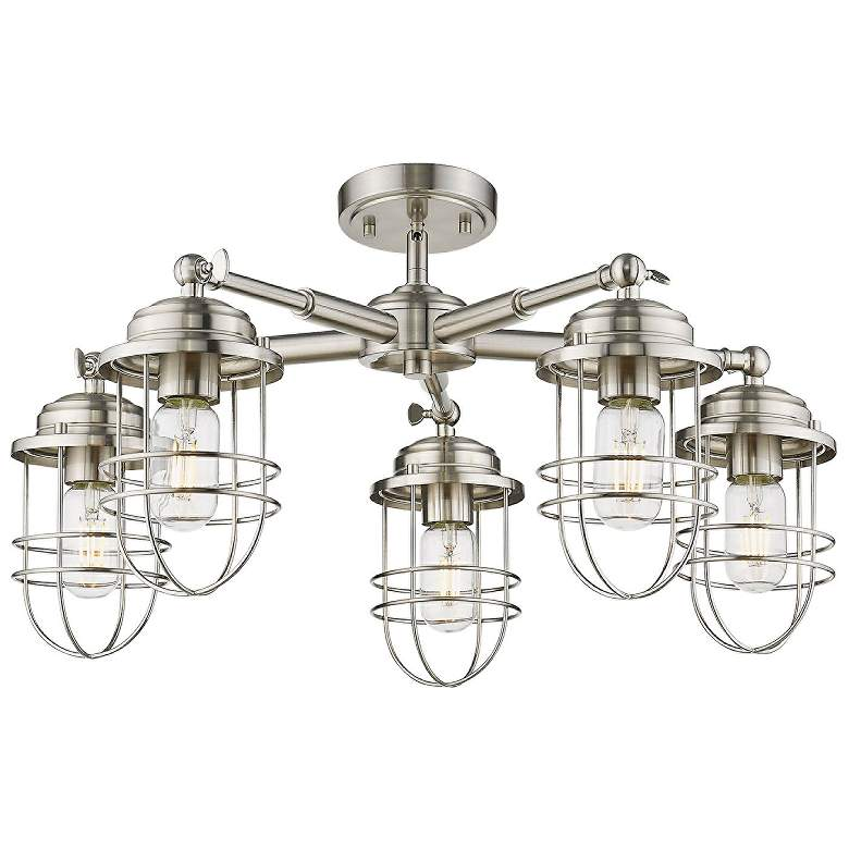 "Seaport 24 1/4"" Wide Pewter 5-Light Ceiling Light"