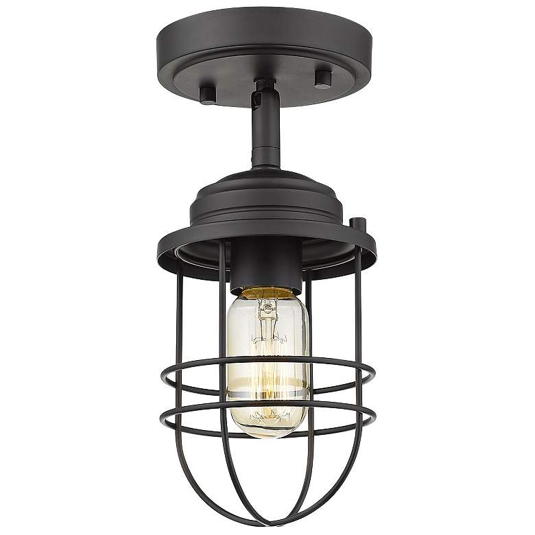 "Seaport 4 3/4"" Wide Black Convertible Pendant/Ceiling Light"
