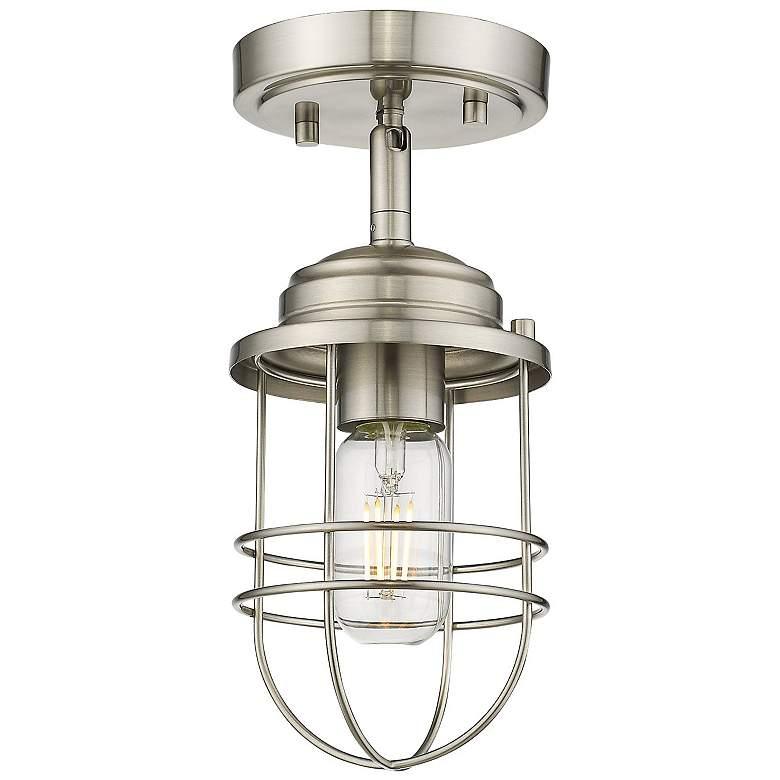 """Seaport 4 3/4"""" Wide Pewter Convertible Pendant/Ceiling Light"""