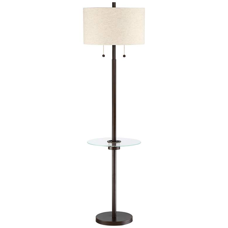Morrow Bronze Tray Table Floor Lamp with USB Port and Outlet