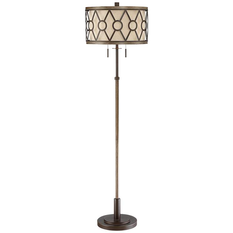 Destry 2-Light Floor Lamp with Faux Wood and Bronze Finish