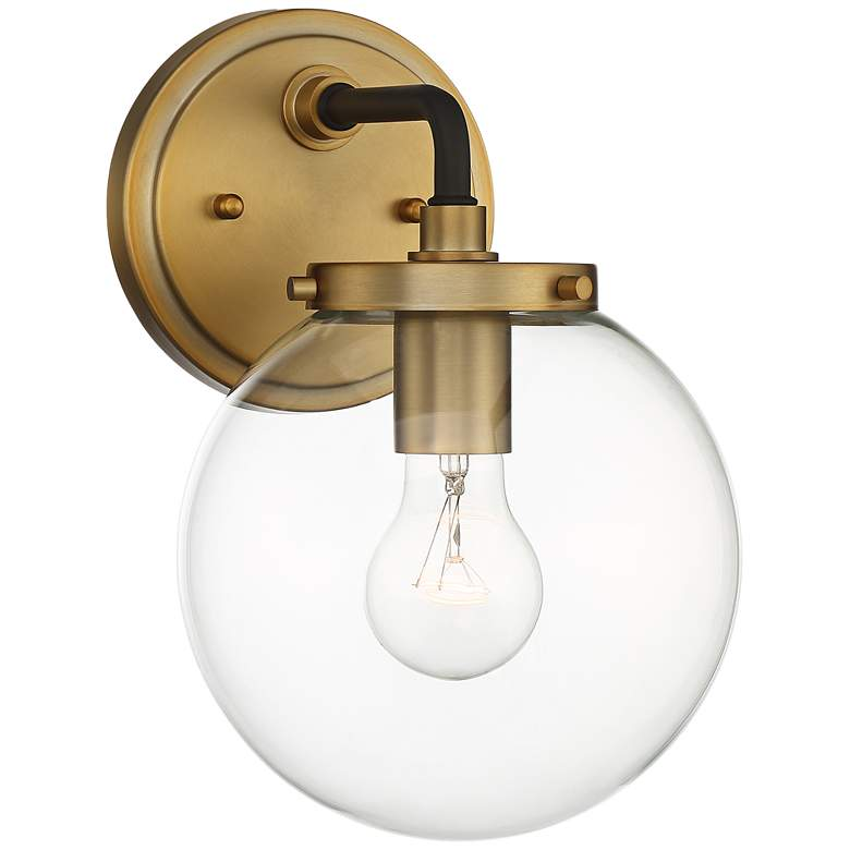 "Possini Euro Fairling 10 1/2""H Gold Glass Globe Wall Sconce"