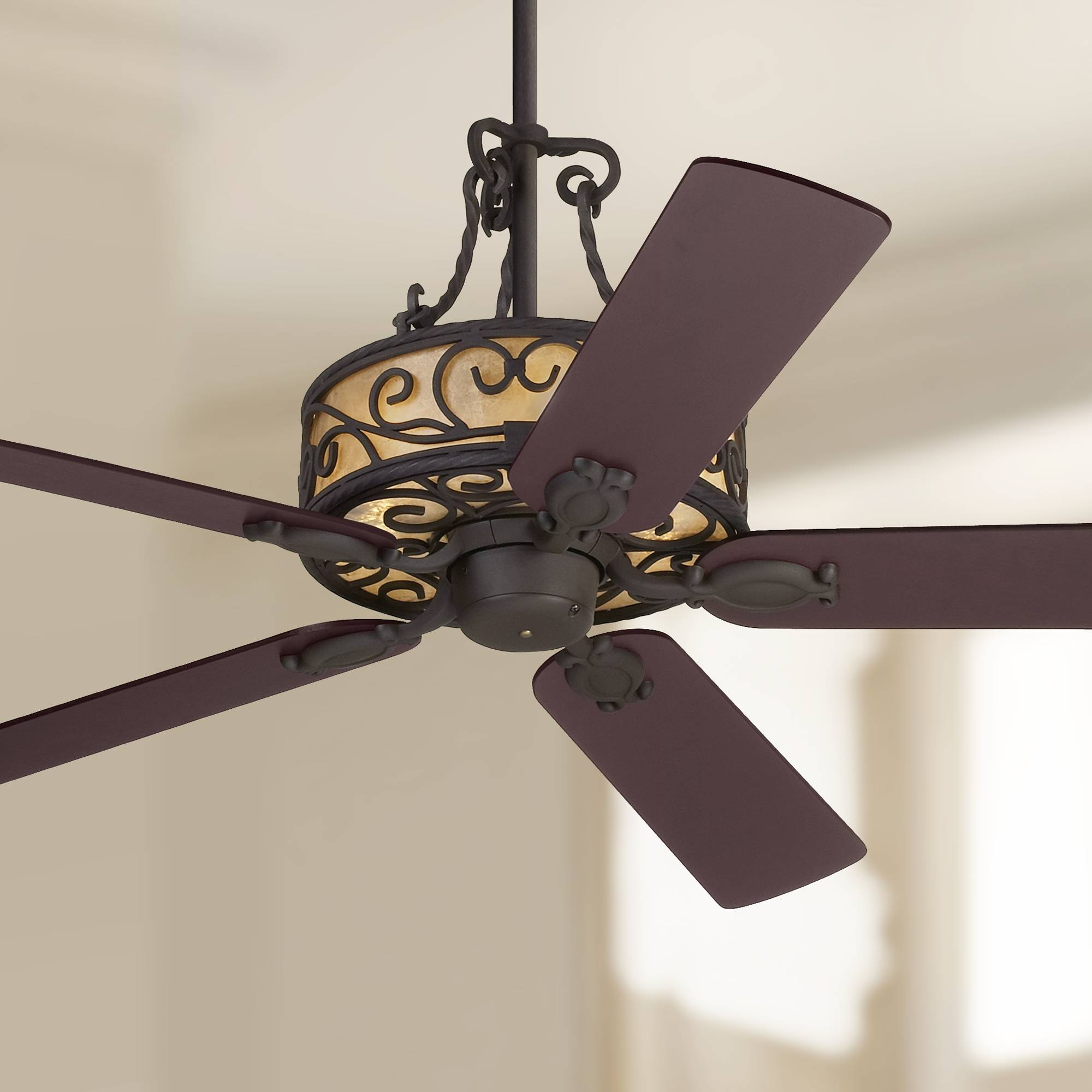 Details About 60 Rustic Ceiling Fan With Light Led Natural Mica Iron For Living Room Kitchen