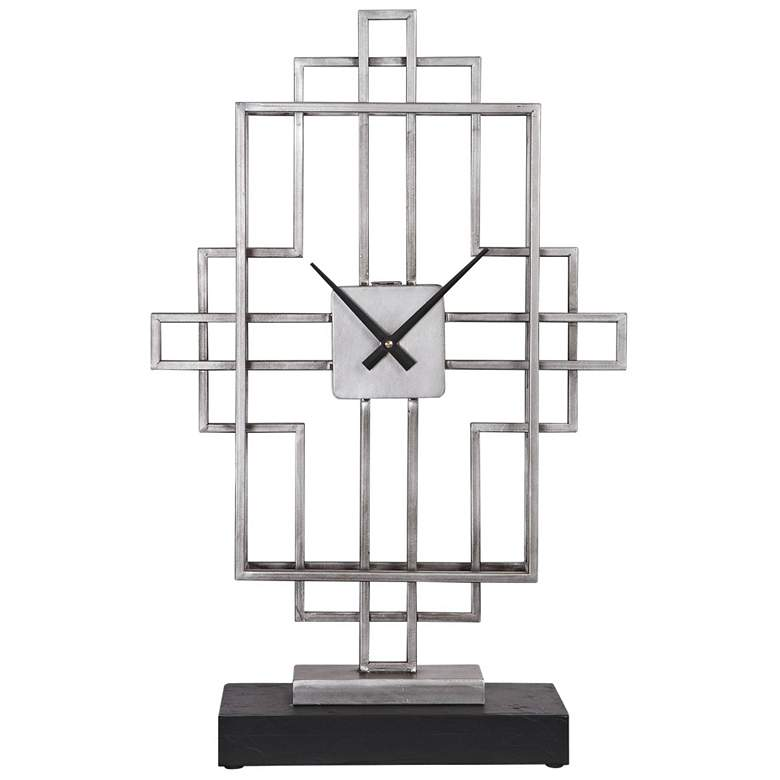 "Uttermost Vanini 23 1/2"" High Antiqued Silver Tabletop Clock"