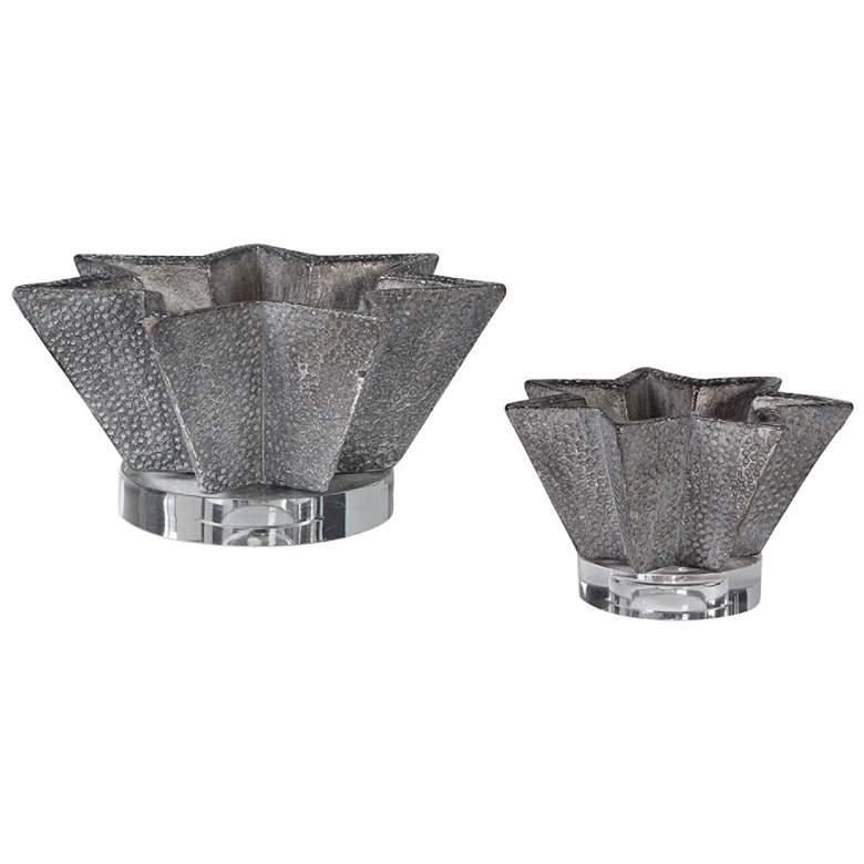 Kayden Star-Shaped Gray Ceramic Decorative Bowls Set of 2