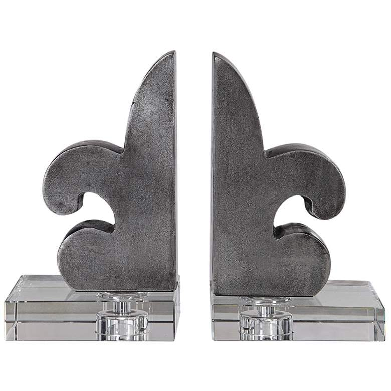 Uttermost Lily Gray Lacquered Iron Bookends Set of