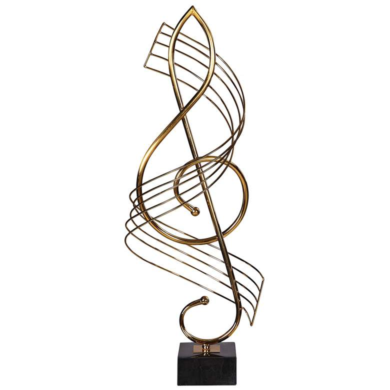 """Uttermost Music Score 27"""" High Plated Brass Sculpture"""