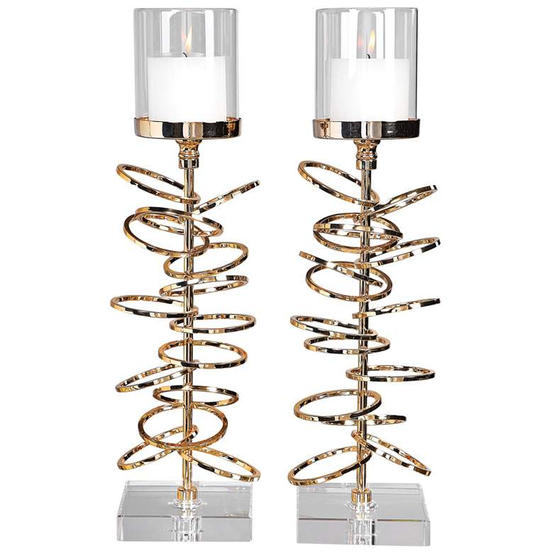 Tala Gold Stacked Rings Pillar Candle Holders Set of 2