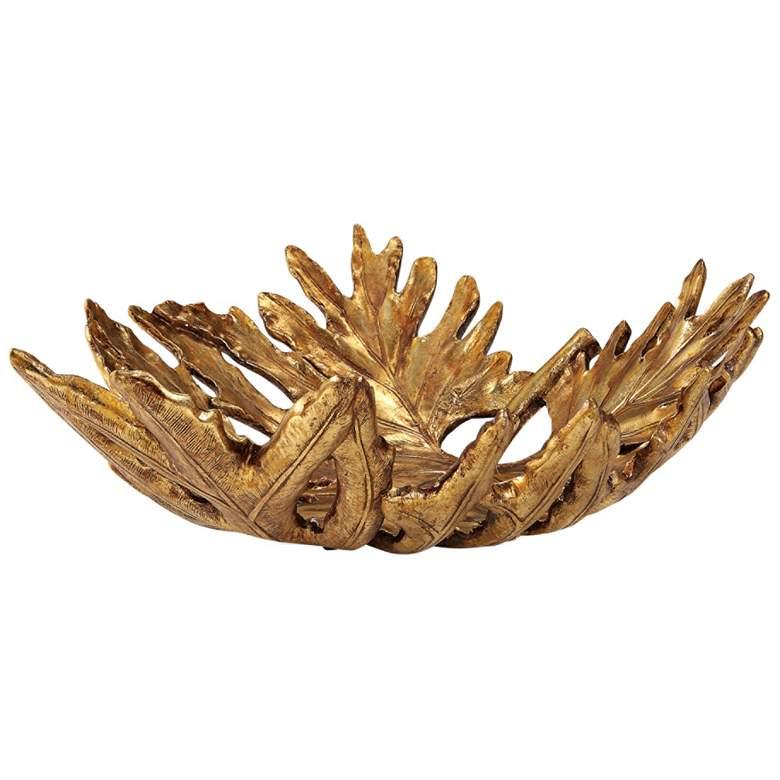 """Uttermost 19 3/4"""" Wide Gold Oak Leaf Decorative Bowl"""