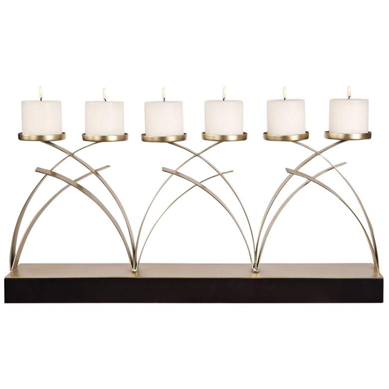 """Nikolas 28 1/2"""" Wide Champagne Silver Candle Holder"""