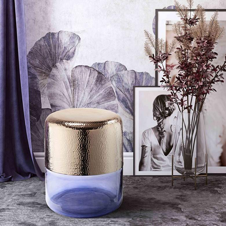 Kolla Gold Hand Hammered Metal and Purple Glass Side Table