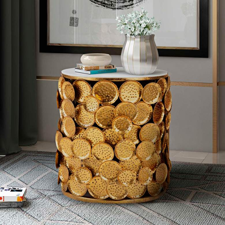 Brie Round Marble Top Side Table with Gold Discs Base