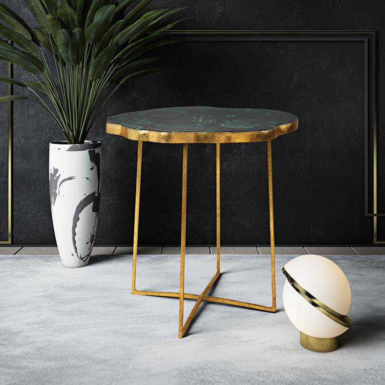 Lily Gold Iron and Agate Top Side Table