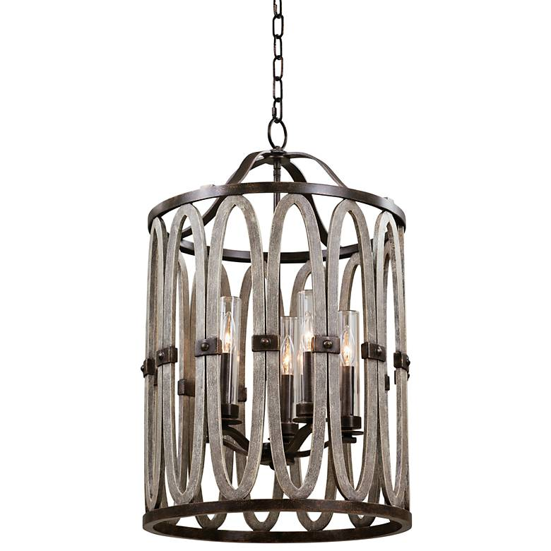 "Kalco Belmont 30"" High Florence Gold Outdoor Hanging Light"