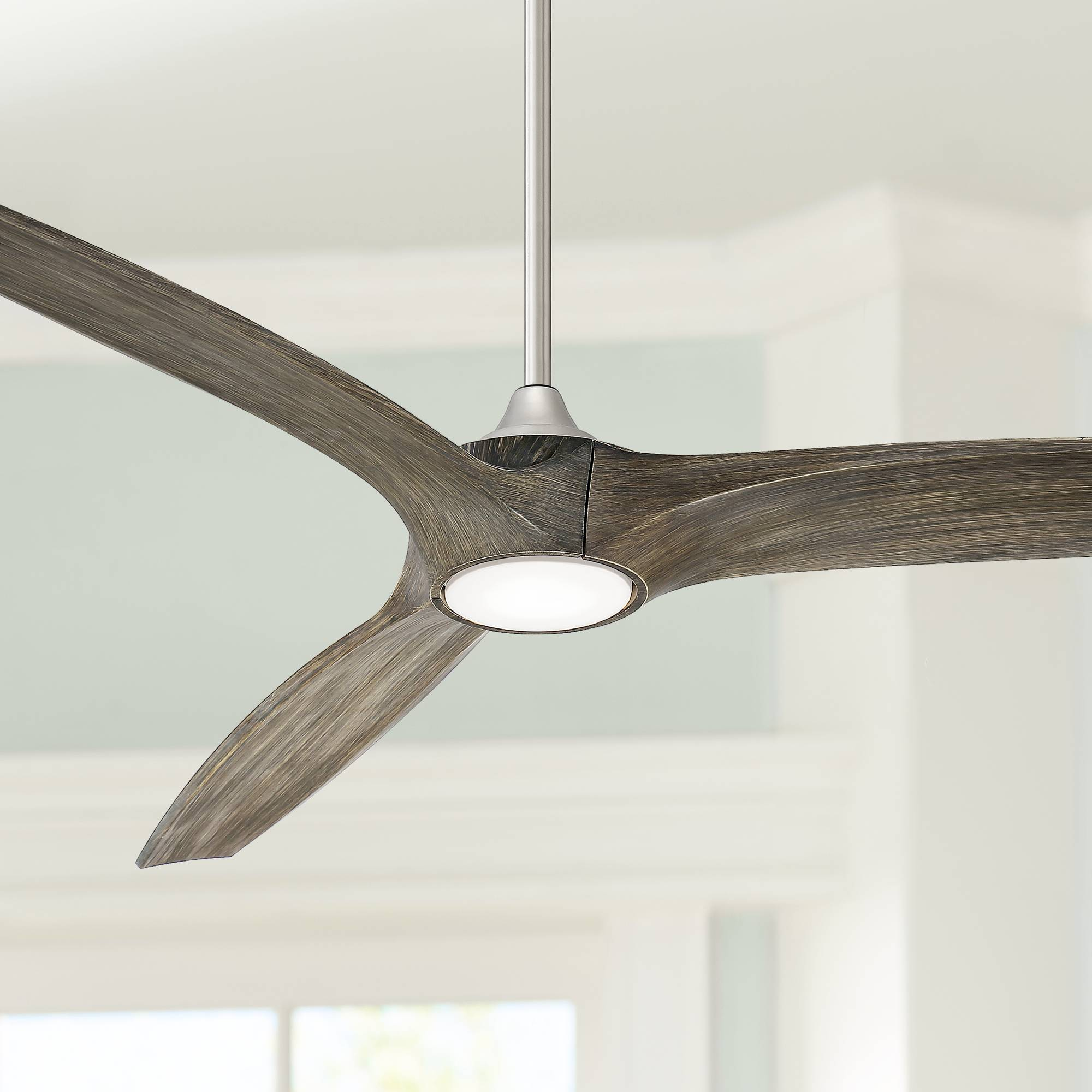 Details About 60 Modern Outdoor Ceiling Fan With Light Led Dimmable Remote Nickel Damp Patio