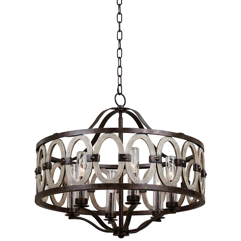 "Kalco Belmont 25"" High Florence Gold Outdoor Hanging Light"