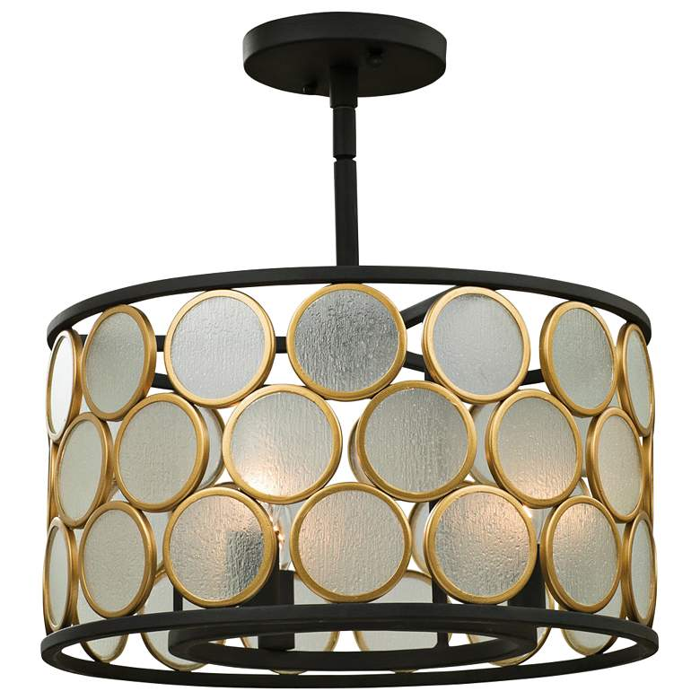 "Kalco Corsa 16"" Wide Matte Black and Gold Ceiling Light"