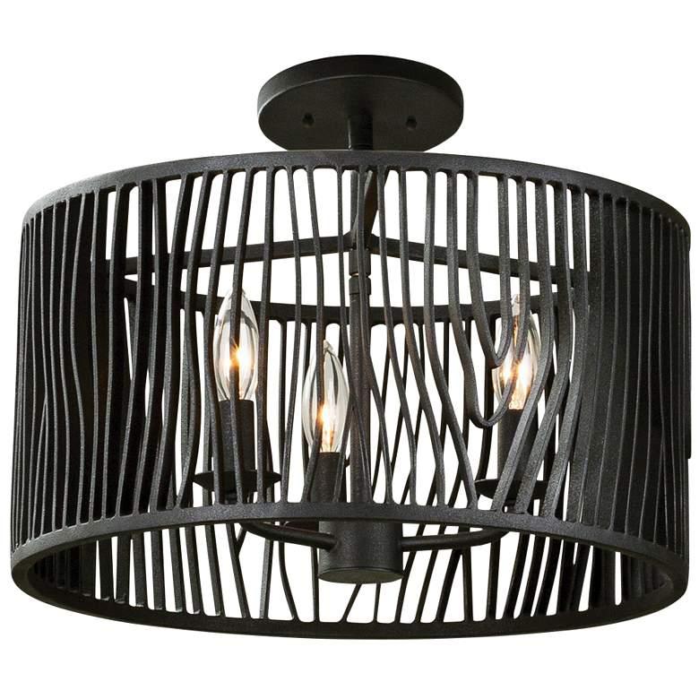 "Morre 16"" Wide Black Iron Convertible Pendant/Ceiling Light"