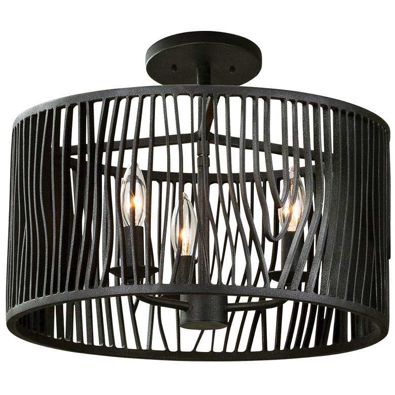 "Morre 16"" Wide Black Iron Convertible Pendant/Ceiling Light"