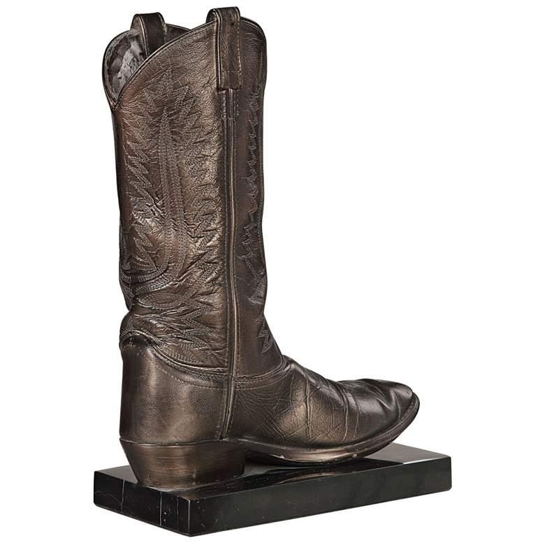 """Uttermost 15"""" High Antiqued Bronze Cowboy Boot Sculpture"""