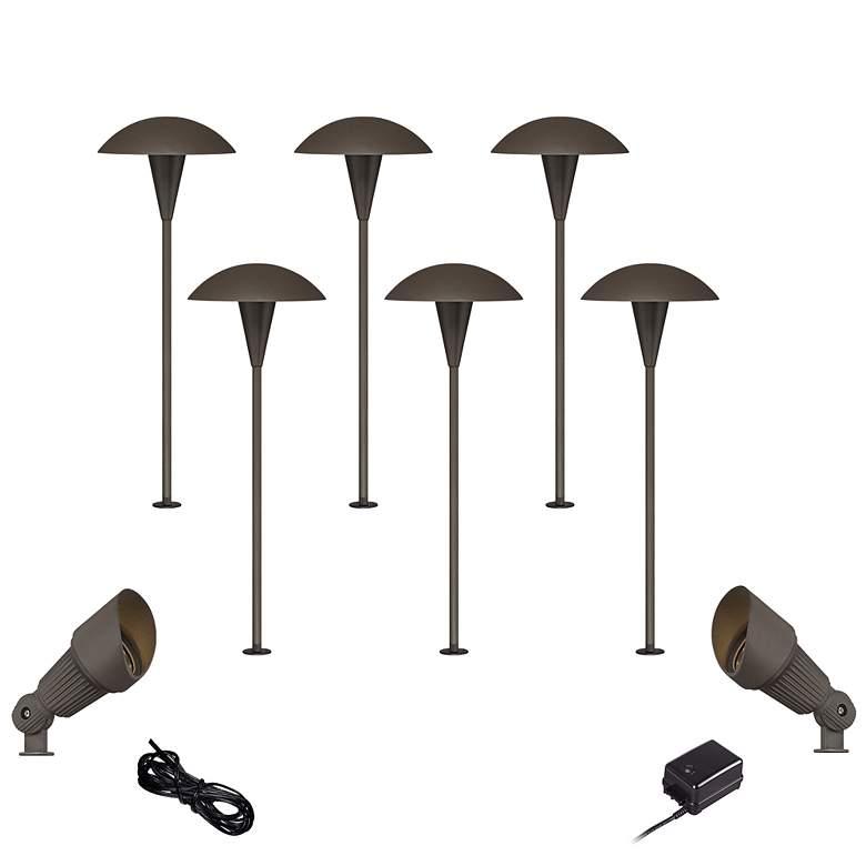 Mushroom Bronze 10-Piece Outdoor LED Landscape Lighting Set