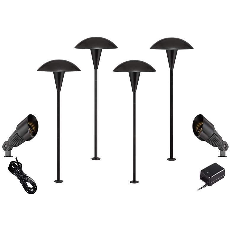 Black Mushroom and Spot Light 8-Piece LED Landscape Lighting Set
