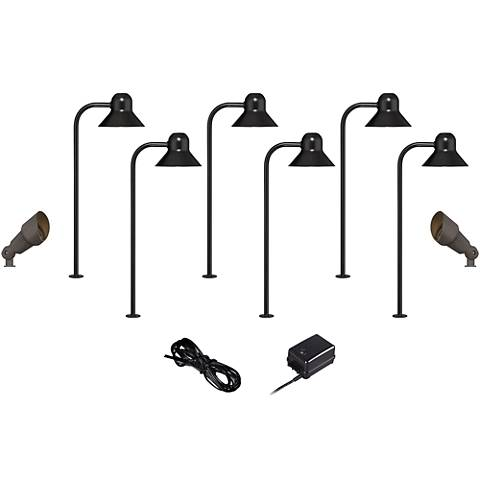 LED 10-Piece Landscape Set with Path and Bronze Spotlights
