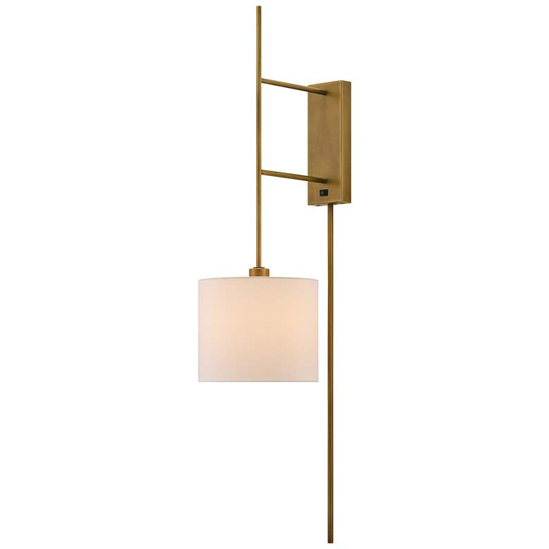 Currey and Company Savill Antique Brass Plug-In Wall Lamp