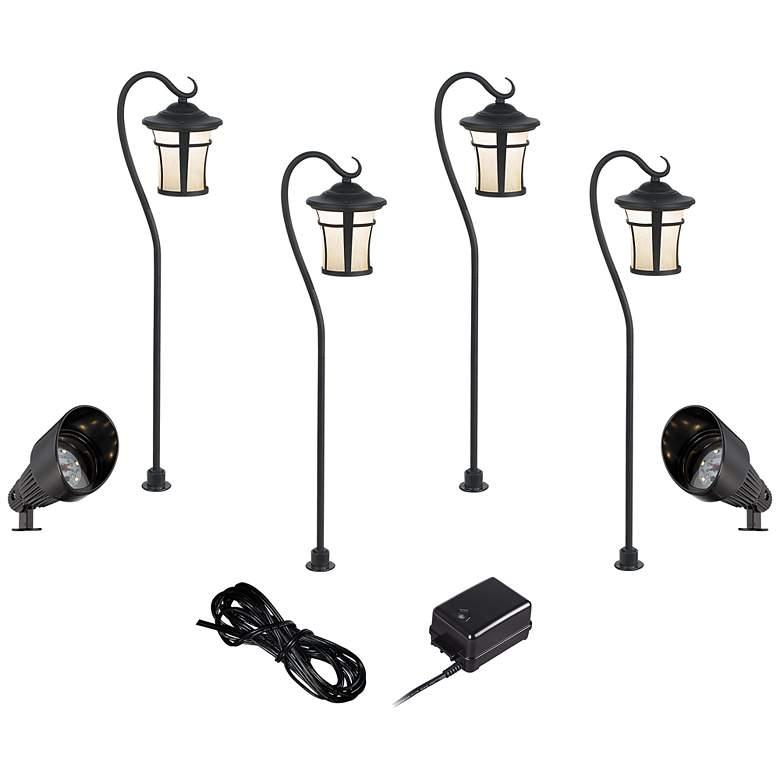 Black LED Carriage and Spotlight Complete Landscape Kit