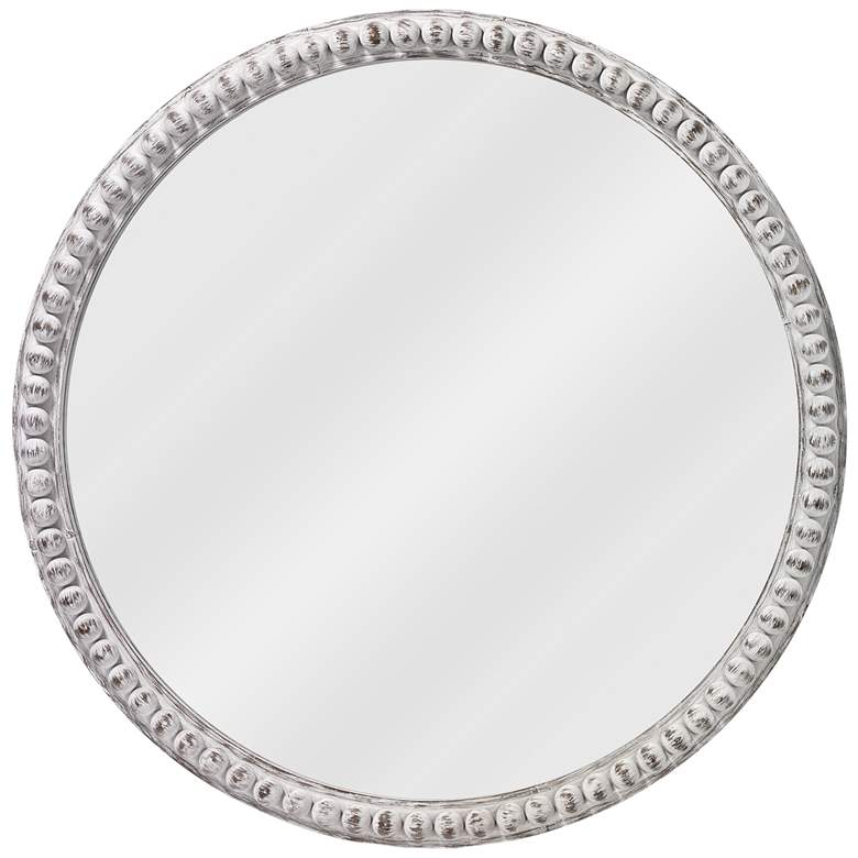 """Jamie Young Audrey White Wood Beaded 30"""" Round Wall Mirror"""