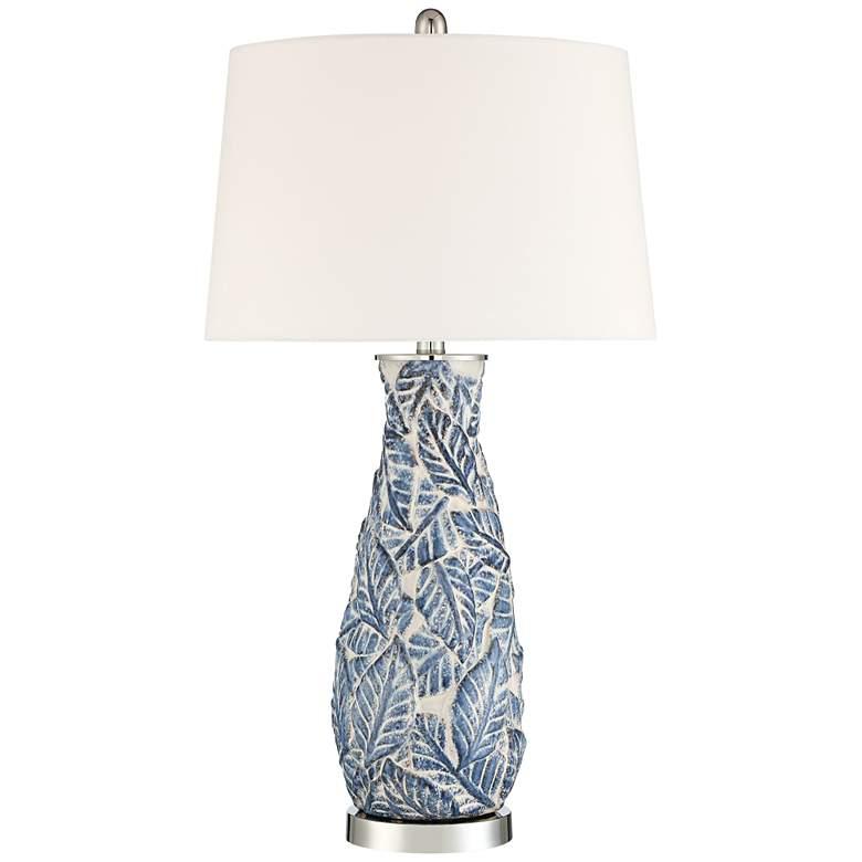 Lynn Blue and White Leaves Ceramic Vase Table Lamp