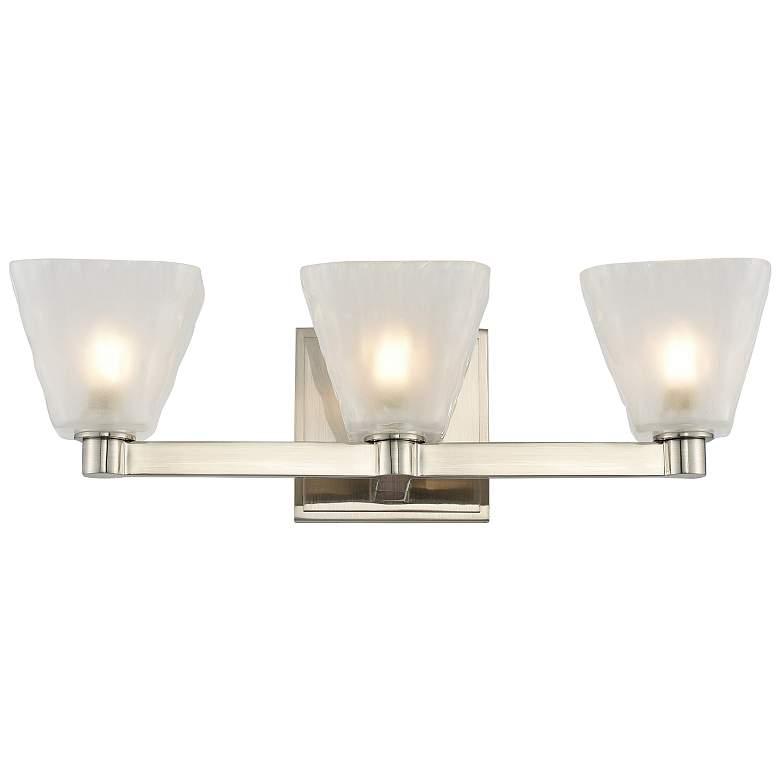"Kalco Weston 17"" Wide Glazed Nickel 3-Light LED Bath Light"