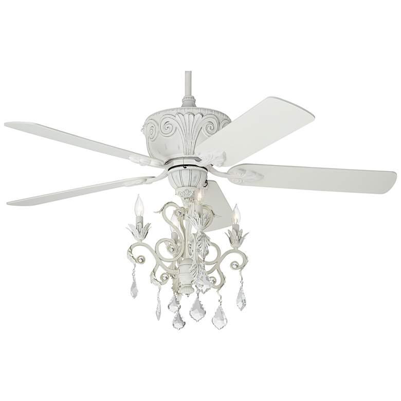"""52"""" Casa Deville™ Rubbed White Chandelier Ceiling Fan"""