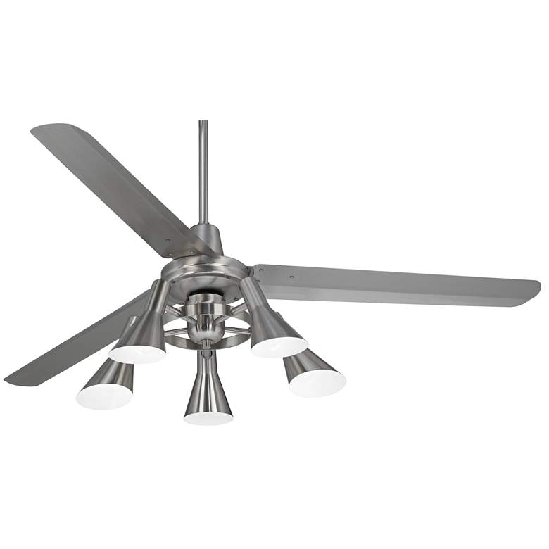 "60"" Casa Turbina AC Brushed Nickel 5-Light LED Ceiling Fan"