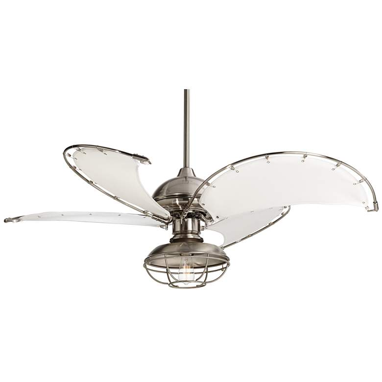 "52"" Brushed Nickel Canvas Blade Cage Light LED Ceiling Fan"