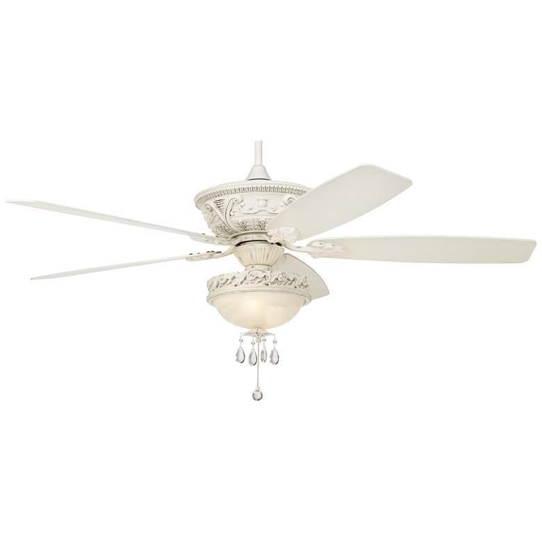 "60"" Casa Vieja Montego White Crystal Beaded LED Ceiling Fan"