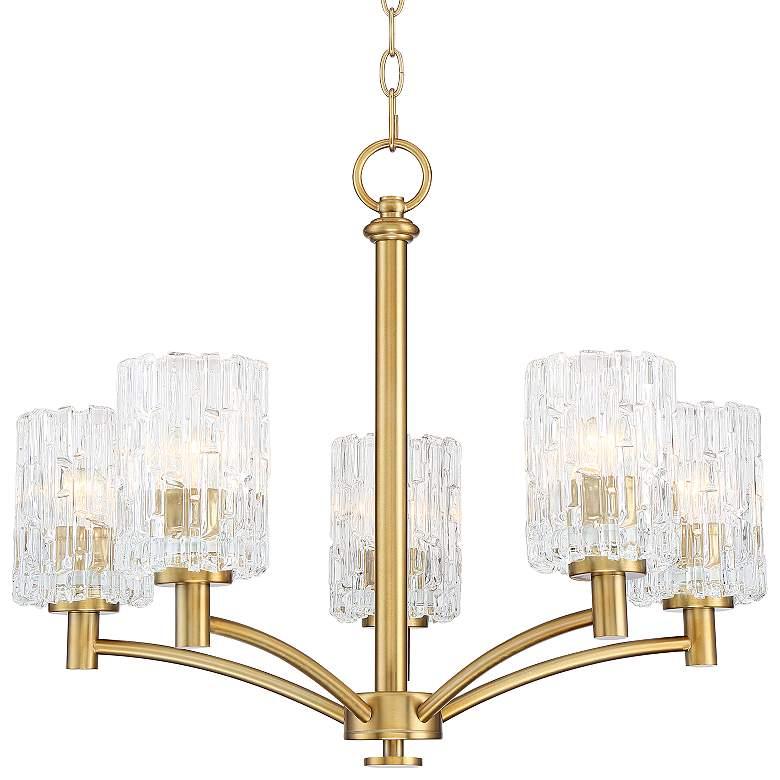 """Possini Euro Icelight 25"""" Wide Brass 5-Light Chandelier"""