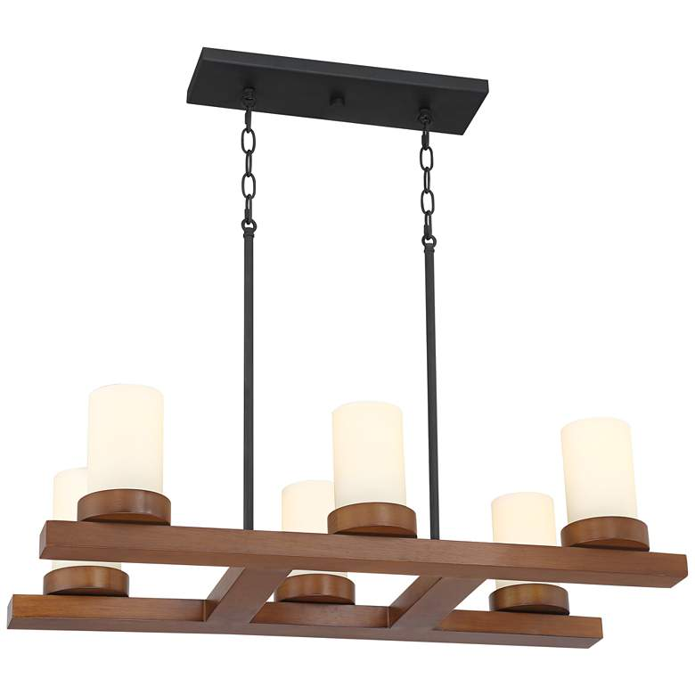 "Yelm 31 1/2"" Wide Textured Black and Wood 6-Light Chandelier"