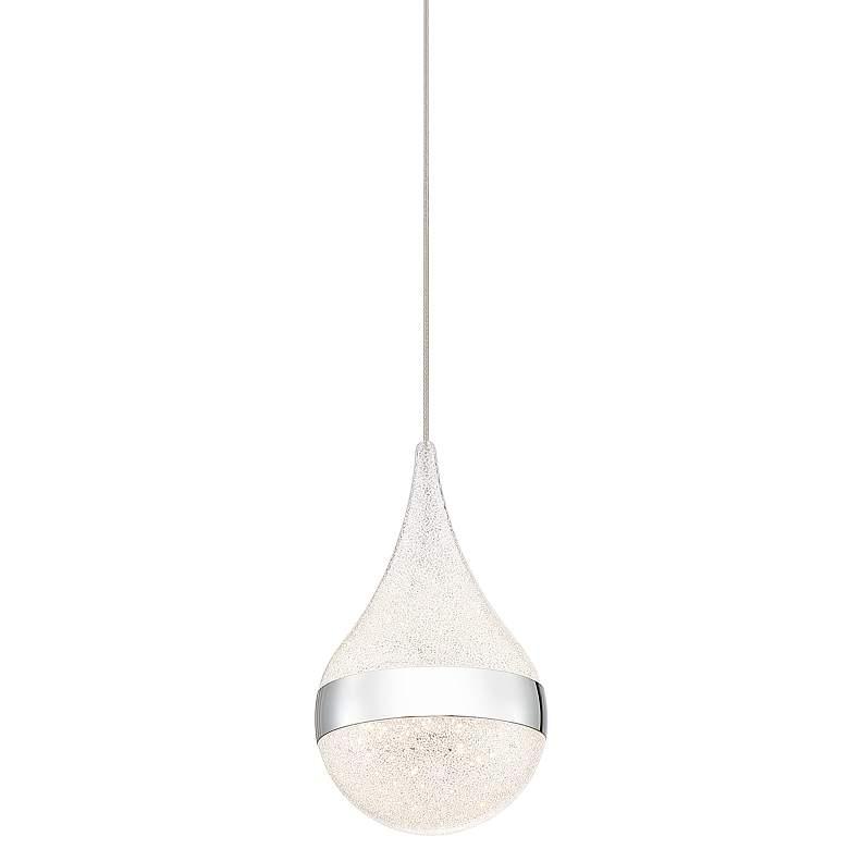 """Dewdrop 4 3/4"""" Wide Sanded Crystal LED Droplet Mini Pendant"""