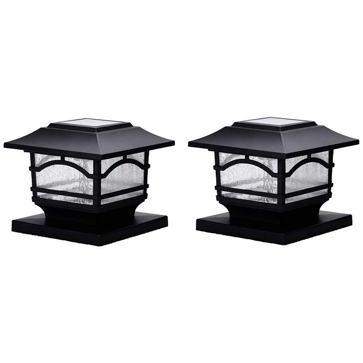 Black 7 H Solar Led Outdoor Post Cap