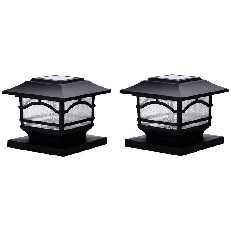 """Black 7""""H Solar LED Outdoor Post Cap and Deck Light Set of 2"""