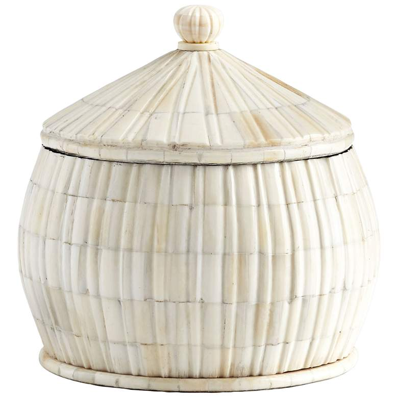 """Cyan Design For Keeps 8 1/4""""H White Bone and Wood Container"""