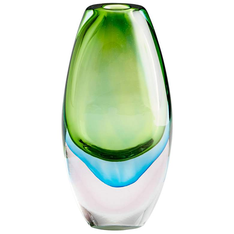 "Cyan Design Canica Blue and Green 11 3/4""H Large Glass Vase"