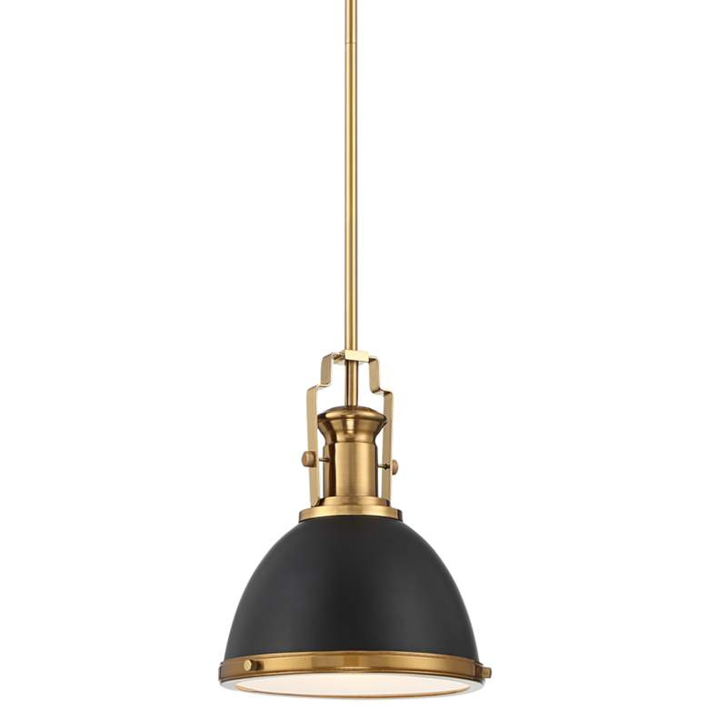 """Memphis 9 3/4"""" Wide Black and Burnished Brass Mini Pendant"""