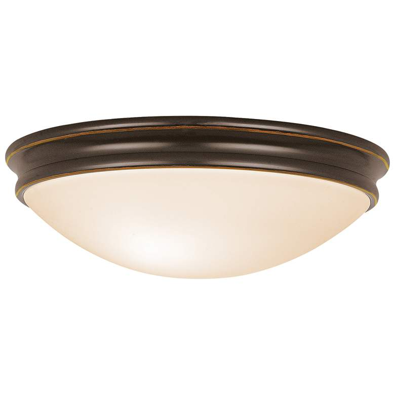 """Atom 14""""W Oil-Rubbed Bronze Ceiling Light with Opal"""